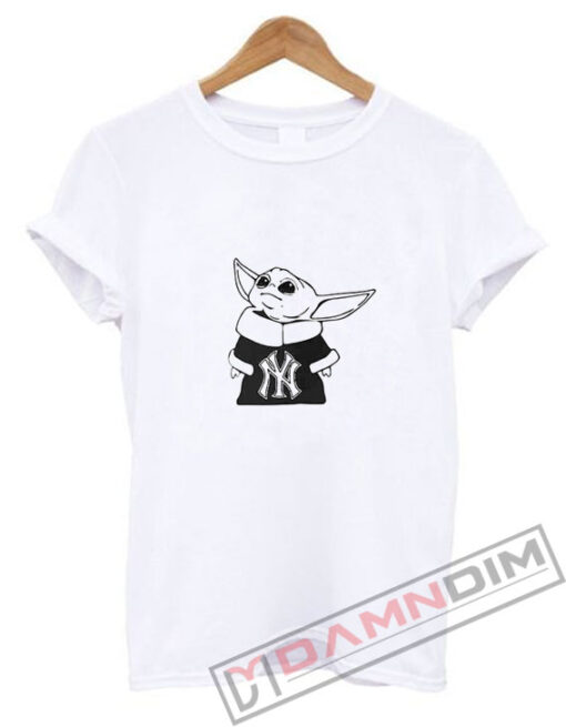 Baby Yoda Yankees Mandalorian Baseball T Shirt Damndim Com Baseball Tshirts Shirts Womens Shirts