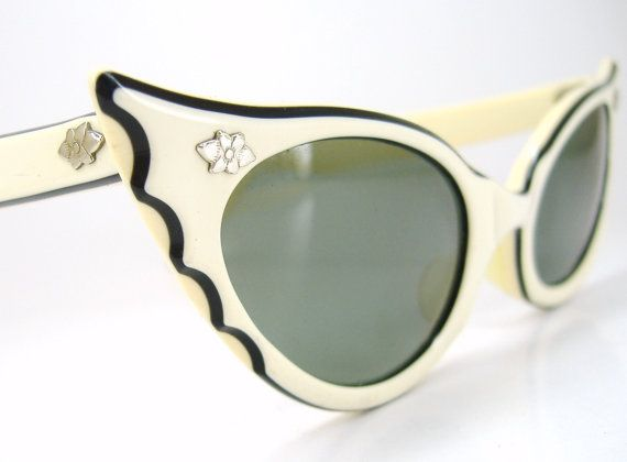 RESERVED Vintage 50s Cat  Eye Sunglasses Bat Wing design