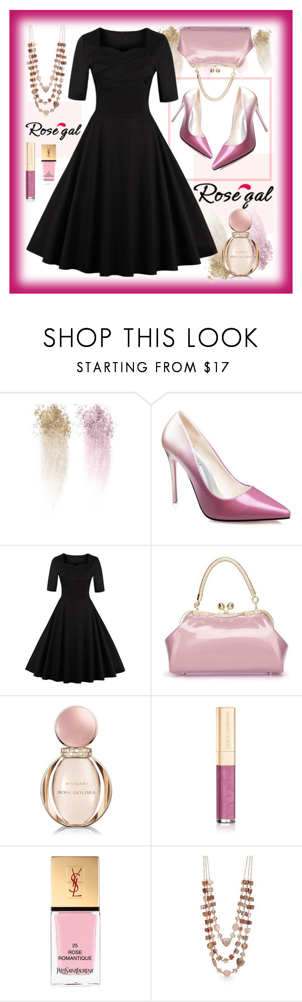 """""""Win $20 Cash from Rosegal!"""" by amisha73 ❤ liked on Polyvore featuring NARS Cosmetics, Bulgari, Dolce&Gabbana, Yves Saint Laurent, Kim Rogers, vintage, Pink, black, jewelry and rosegal"""