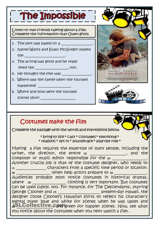 Describing Films Vocabulary Exercises Film Worksheets [ 1440 x 1018 Pixel ]