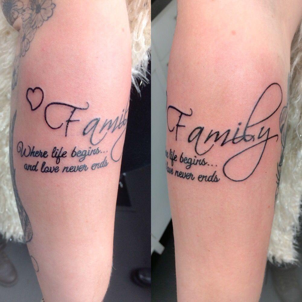 Family Tekst Tattoo Sister Tattoos Tatoeages En Tatoeage