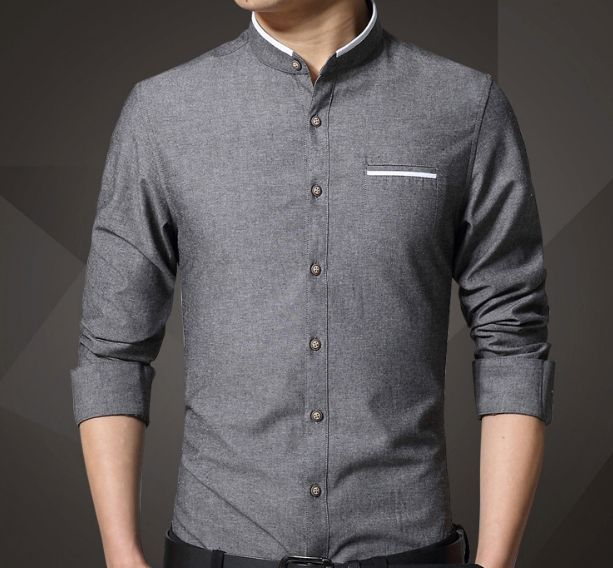 MOUTEN Mens Chinese Style Stylish Short Sleeve Button Up Stand Collar Shirts