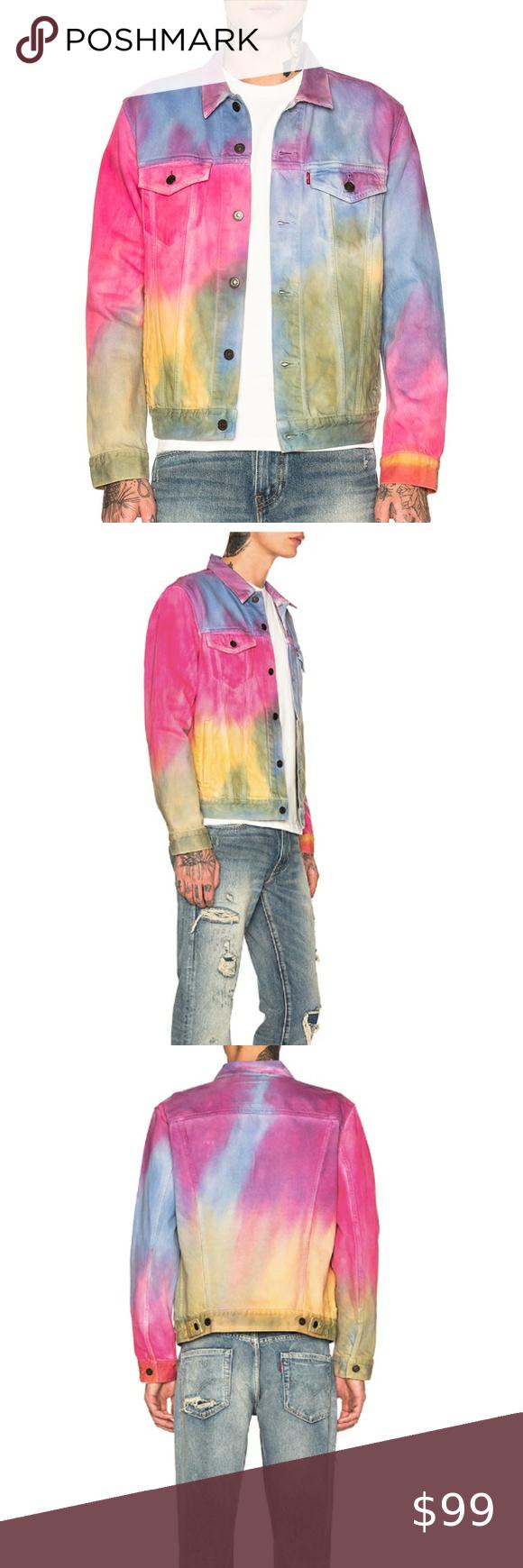 LEVI/'S Tie Dye Denim Trucker Jacket  YELLOW PINK BLUE RAINBOW  NWT