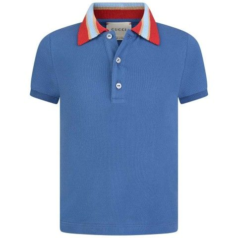 f707f84fb8a GUCCI Baby Boys Blue Pique Polo Top