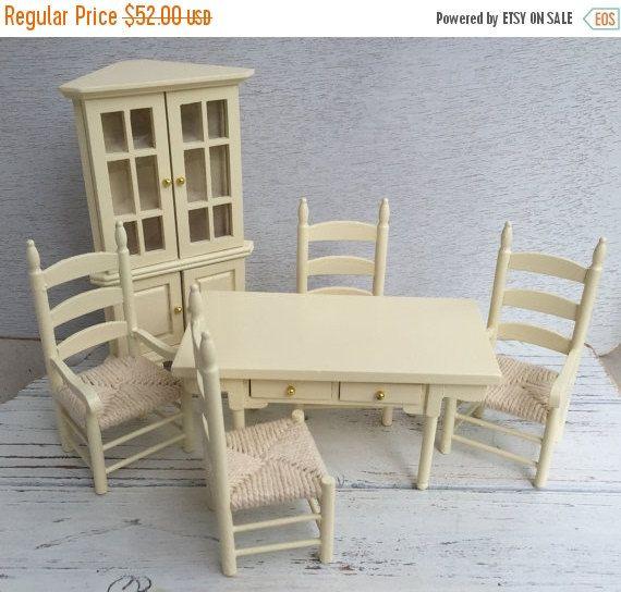 SALE Miniature Dining Room Set, Cream 6 Piece Set, Includes Corner