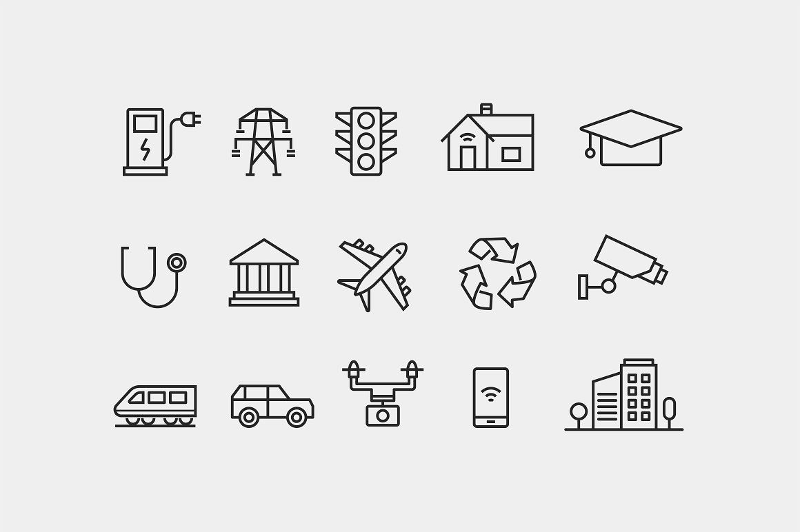 15 Smart City Icons City Icon Smart City Icon Pack