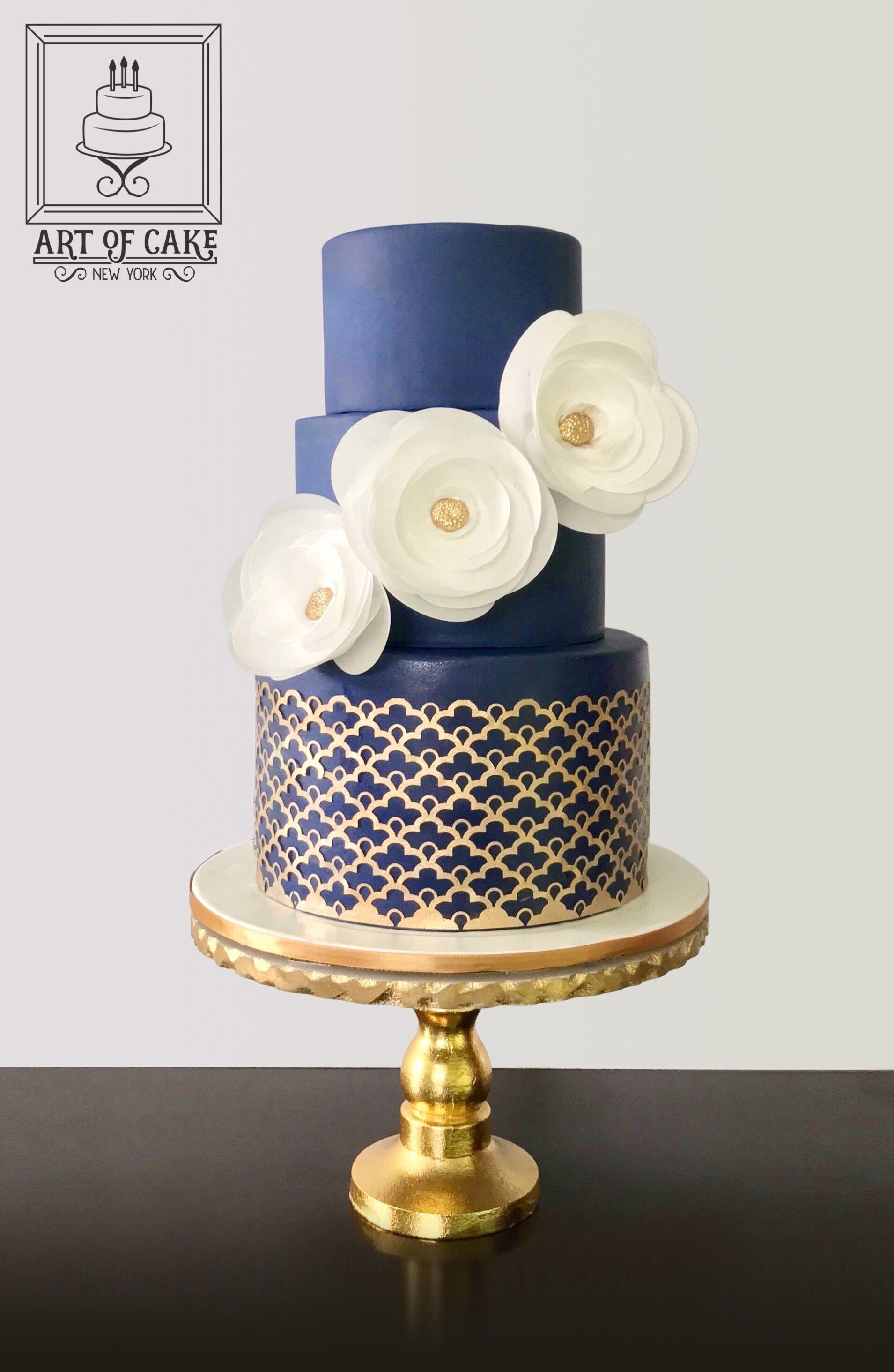 Cake Elegant Wedding Or Birthday Navy With Gold