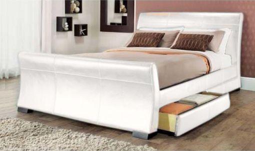 Rimini white leather Sleigh £218 | New bedroom | Pinterest | Indoor ...