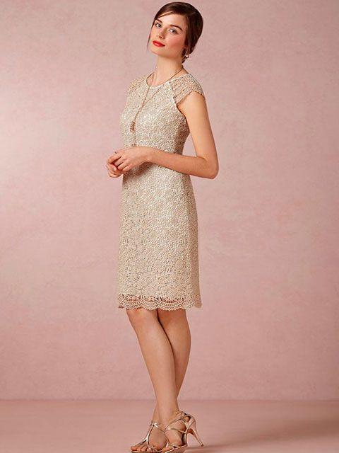 Vestido de novia corto manga sisa cuello redondo para tu casamiento ...
