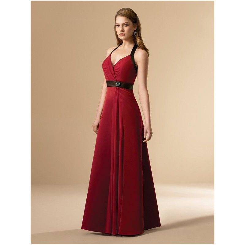 red bridesmaids dresses | ... Neckline Long Red and Black ...