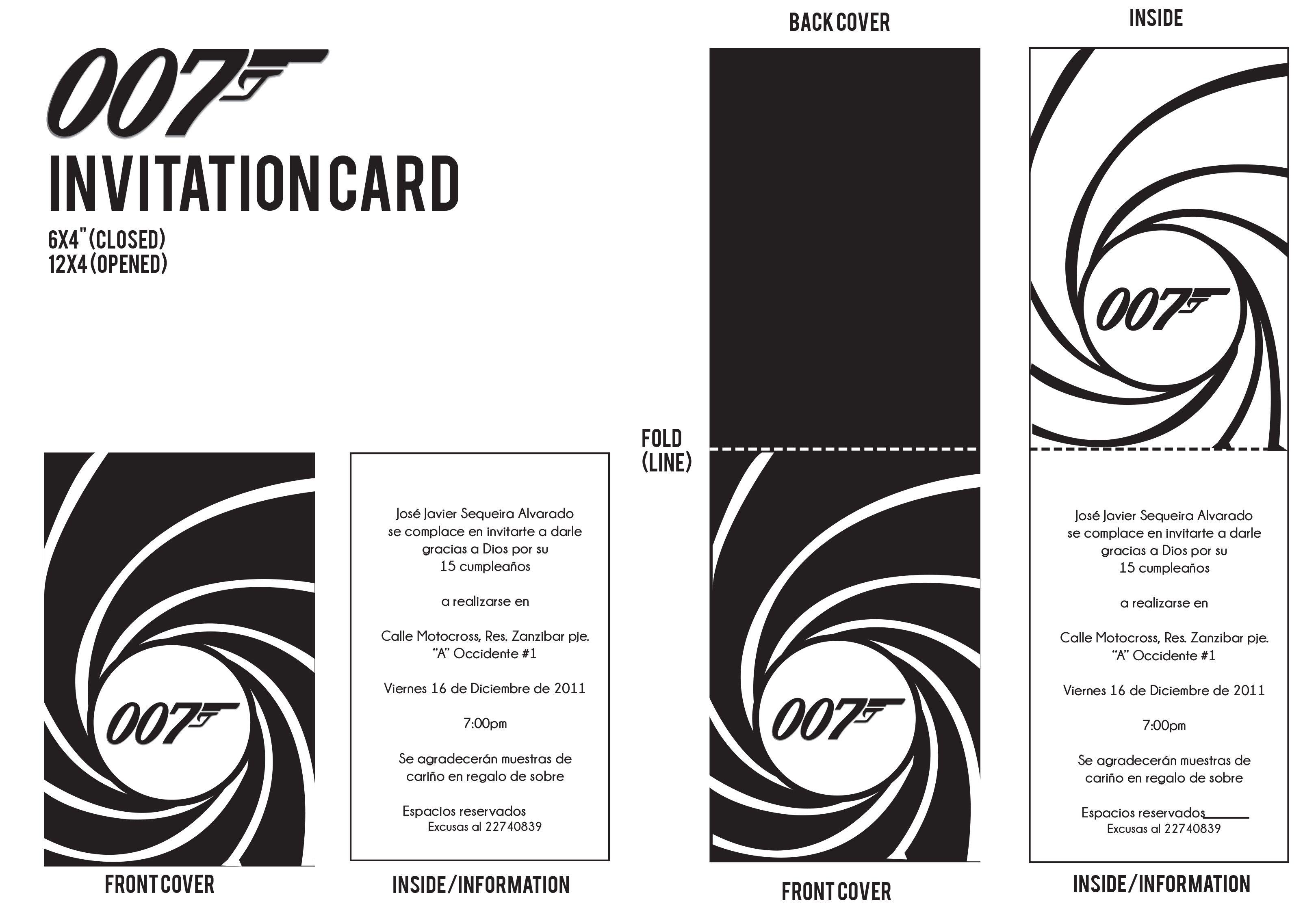 007 invitation card 007 pinterest 50th party 007 invitation card stopboris Choice Image