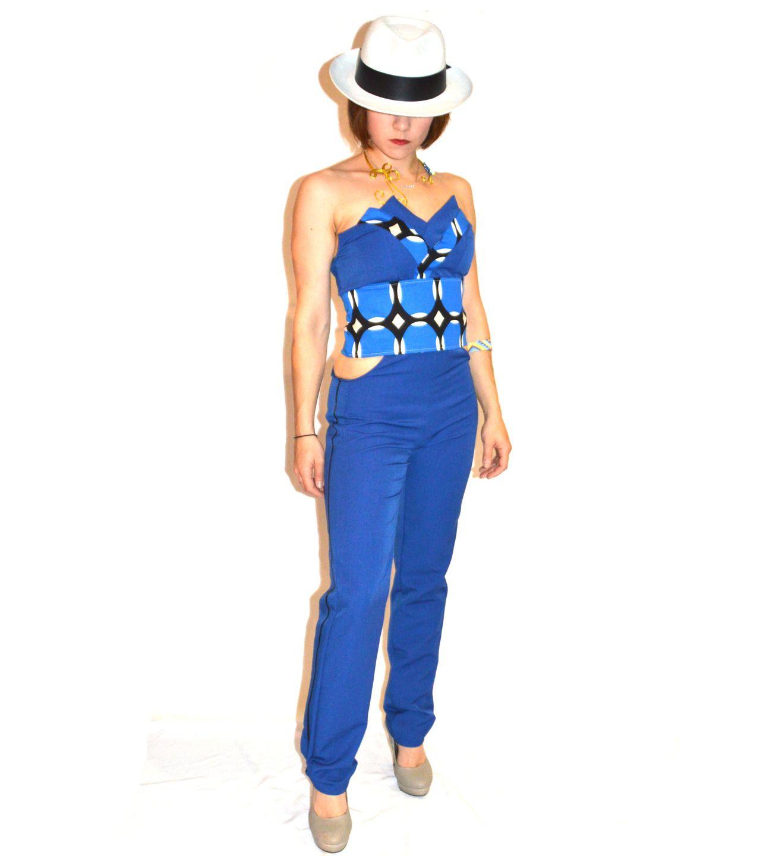 combinaison femme,combinaison de céateur,combinaison en gabardine stretch bleu cobalt, bleu roi, Eloïse Lehuédé créations : Autres mode par eloise-lehuede-creations