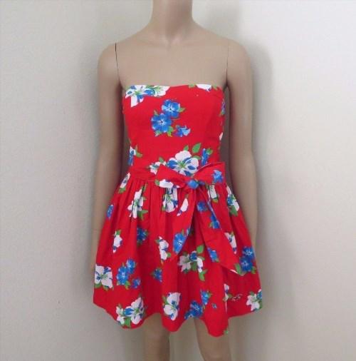 44.53$  Buy now - http://vidzi.justgood.pw/vig/item.php?t=f3vyf2743989 - NWT Hollister Womens Floral Strapless Dress Size Medium Bold Red Ribbon Bow