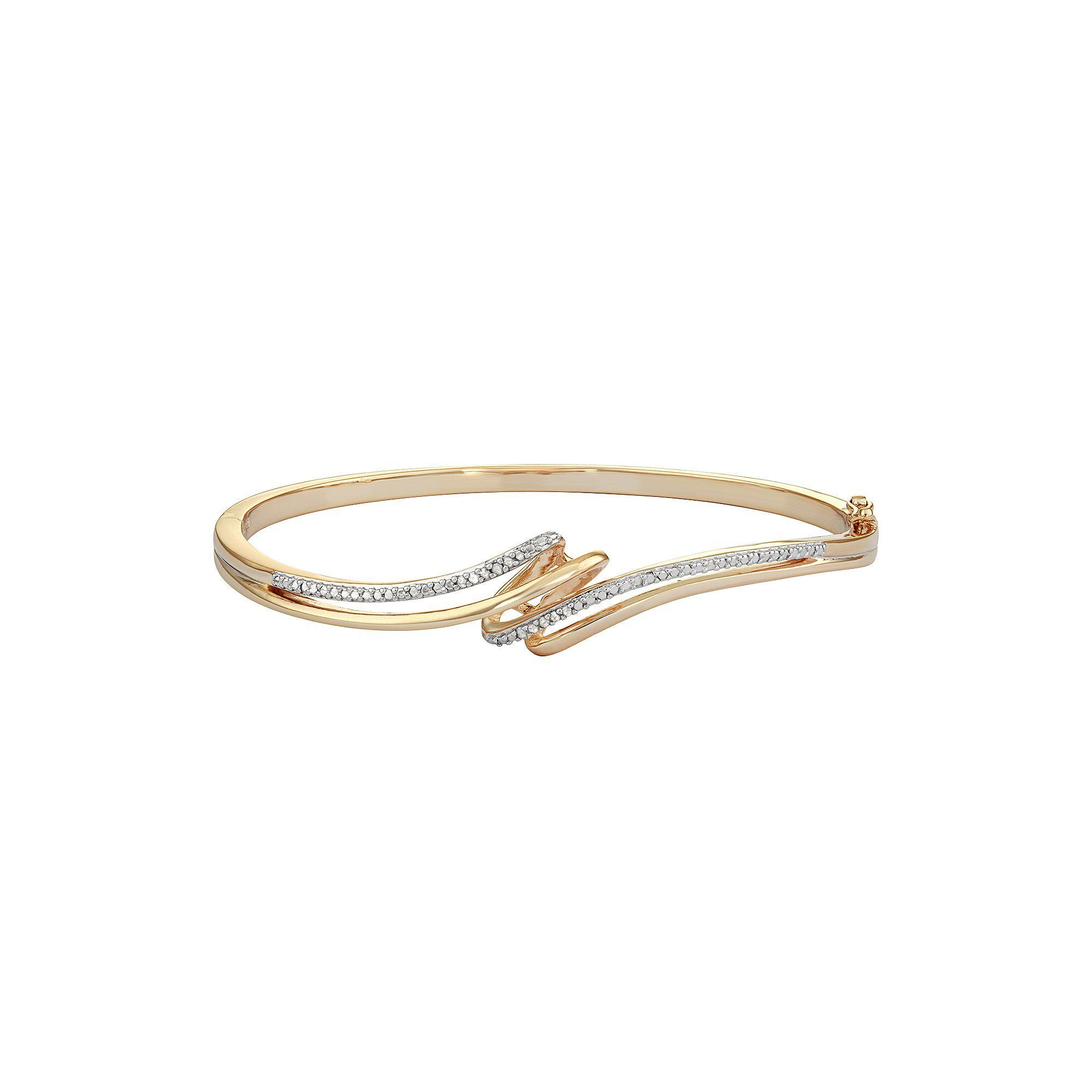 K gold over silver diamond accent bypass bangle bracelet womenus