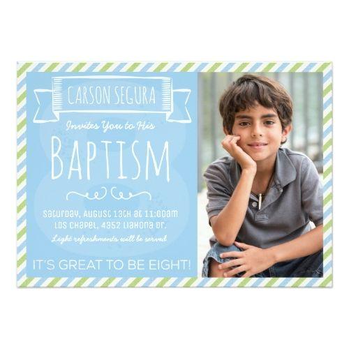 Blue and Green Stripes LDS Baptism Announcement Pinterest