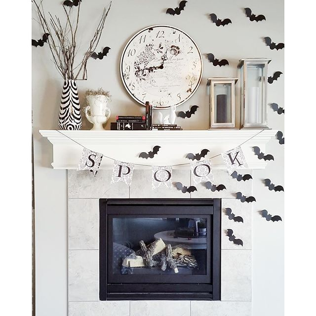Chic Black and White Halloween Mantel Decorations Home Pinterest