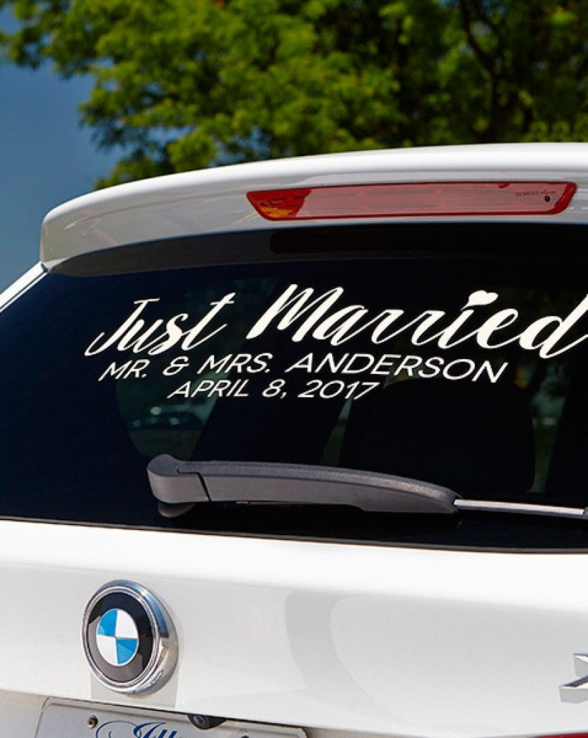 Just Married Personalized Window Decal Bridal Shower Gift Idea - Window decals for vehicles personalized