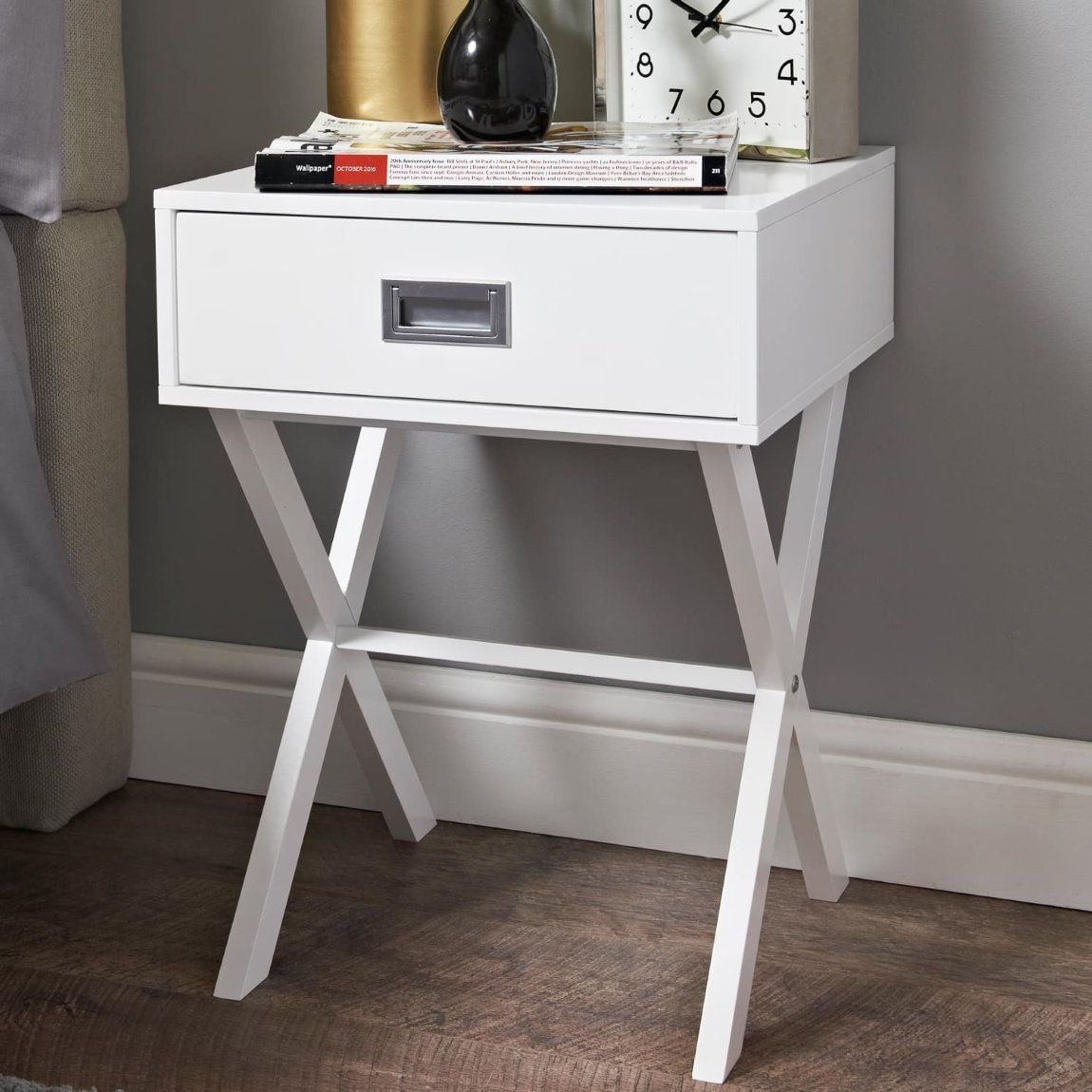 Hilton 1 Drawer Bedside Table White In 2020 Bedside Table Drawers