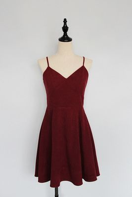 Simple Cute Wine Red Straps Homecoming Dresses Velvet Party Short Formal