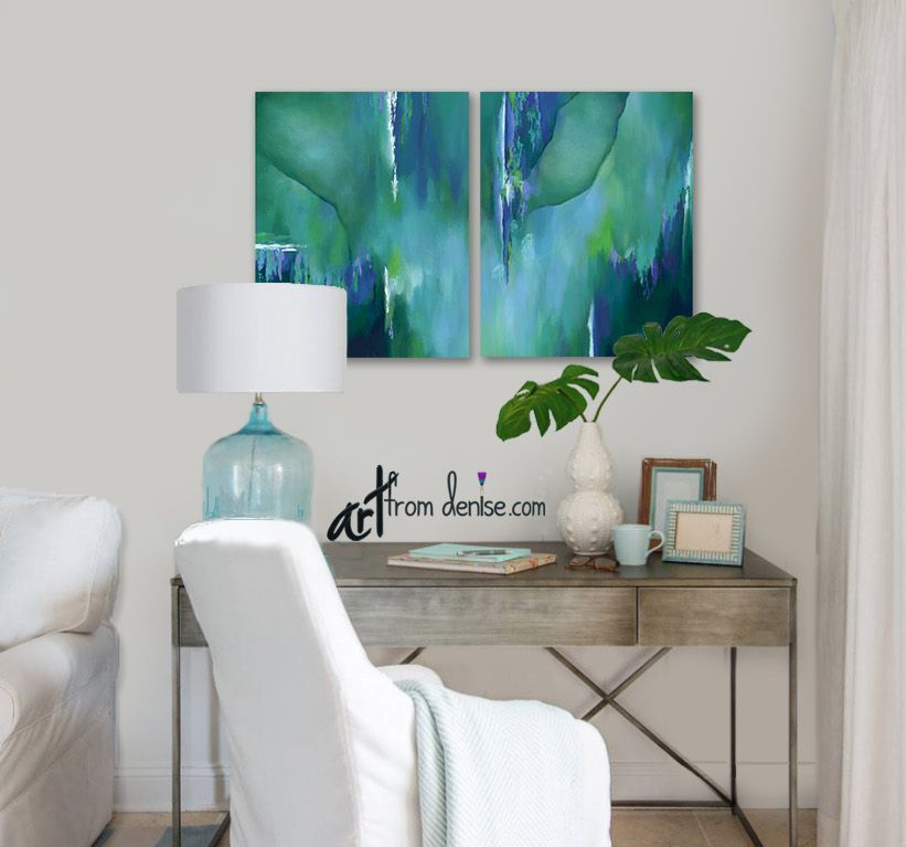 Teal Wall Art Large Abstract Painting Canvas Art Print Set Etsy Teal Wall Art Wall Decor Living Room Turquoise Living Room Decor #teal #wall #decor #for #living #room