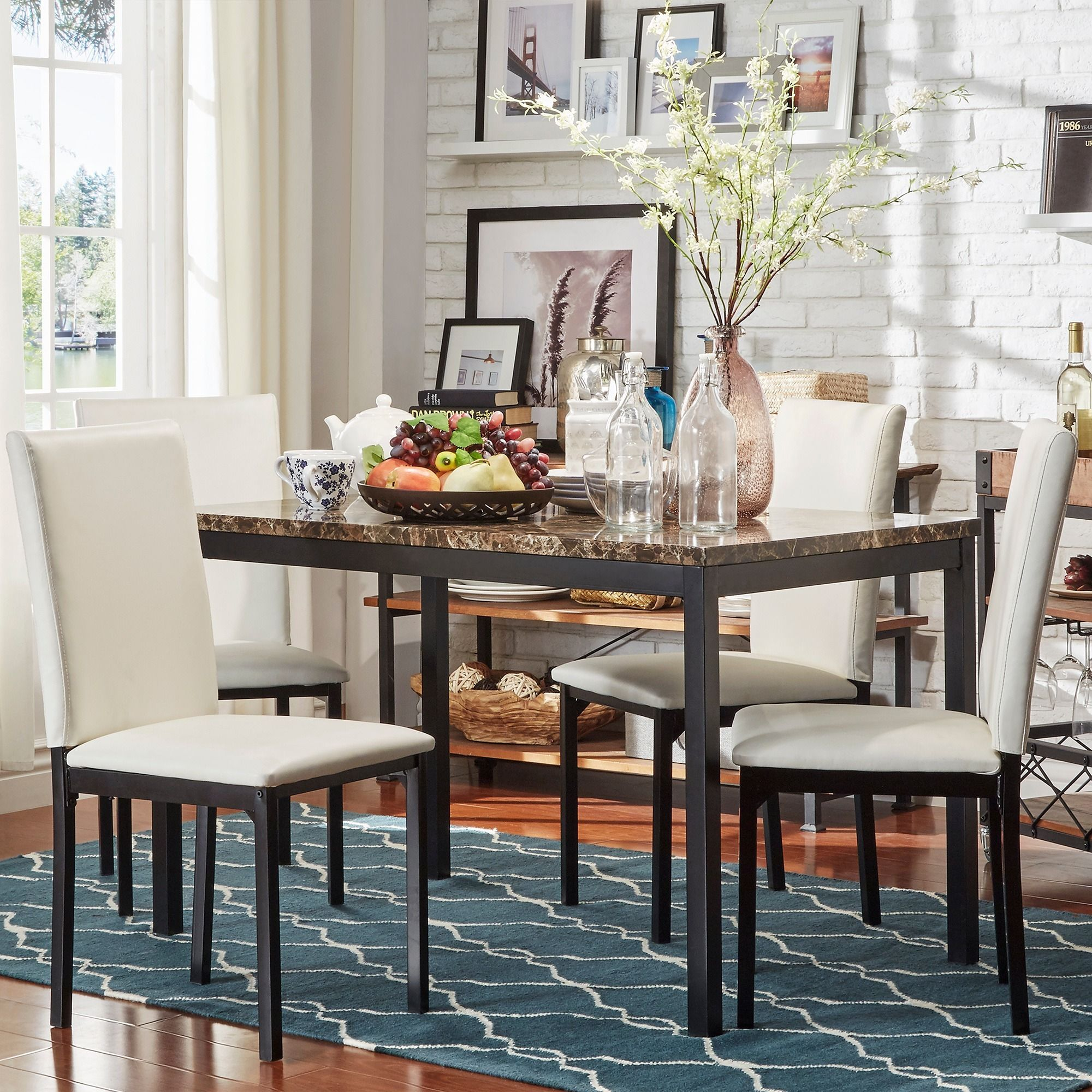 INSPIRE Q Darcy Faux Marble Top Metal 5-piece Casual Dining Set - 17506265 -