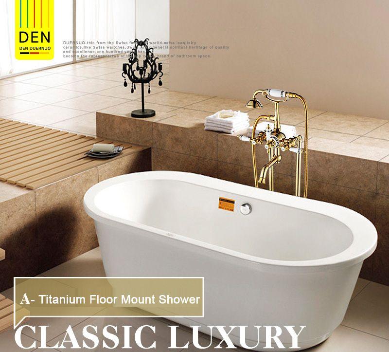 Luxury Modern Freestanding Dual Cross Handles Bathtub Faucet Tub Filler Gold Color Golden Finish Floor Moun With Images Bronze Bathtub Faucet Bathtub Faucet Bathtub Filler