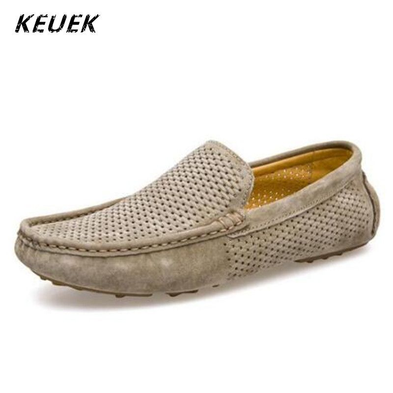 Genuine leather Men Loafers Breathable Summer Slip-On Flats Male Boat shoes  Casual Driving shoes Hollow Out Moccasins 022 a90c8b6cd07
