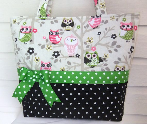XL Sitn' in a Tree Owls and Black Polka Dot by MsSewItAll32, $40.00
