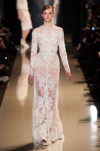 Elie Saab Couture Spring 2013 gown in pearly-ivory 'nude' and a translucent appearance.