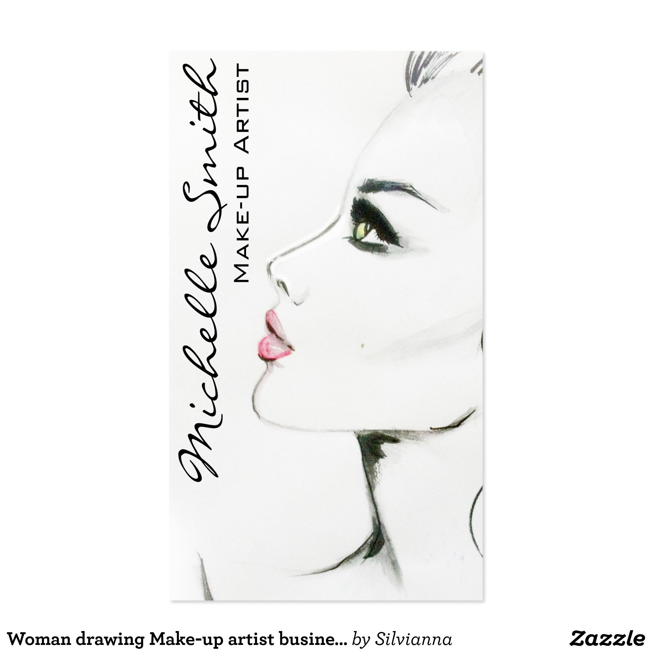 woman drawing make up artist business card design