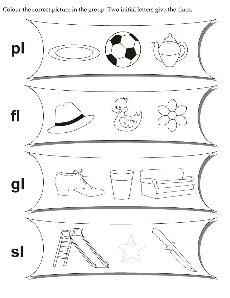 Download English Activity Worksheet Colour The Correct Picture In The Group Two Initial Initial Letters English Activities English Worksheets For Kindergarten