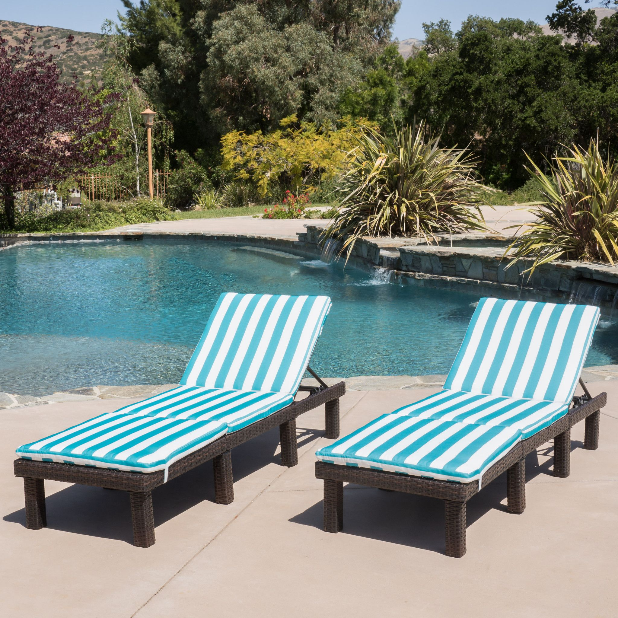 - Estrella Brown Wicker Blue Stripe Adjustable Chaise Lounge Chairs