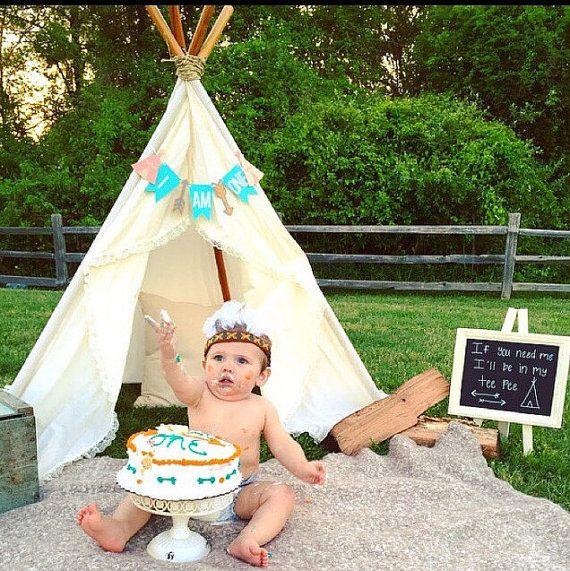 Aztec Arrow One Banner Custom First Birthday Indian Decoration Photo Prop Tribal Birthday Highchair Bunting Tee Pee One Garland