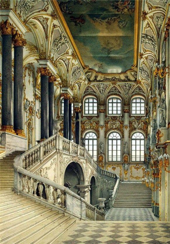 18th Century Stairway Grand Opulent Russian Palace Winter Palace Castles Interior Palace Interior