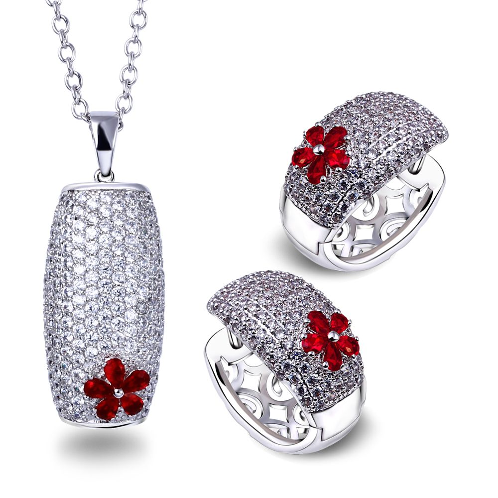 High quality jewelry sets for women gold plated with red cubic