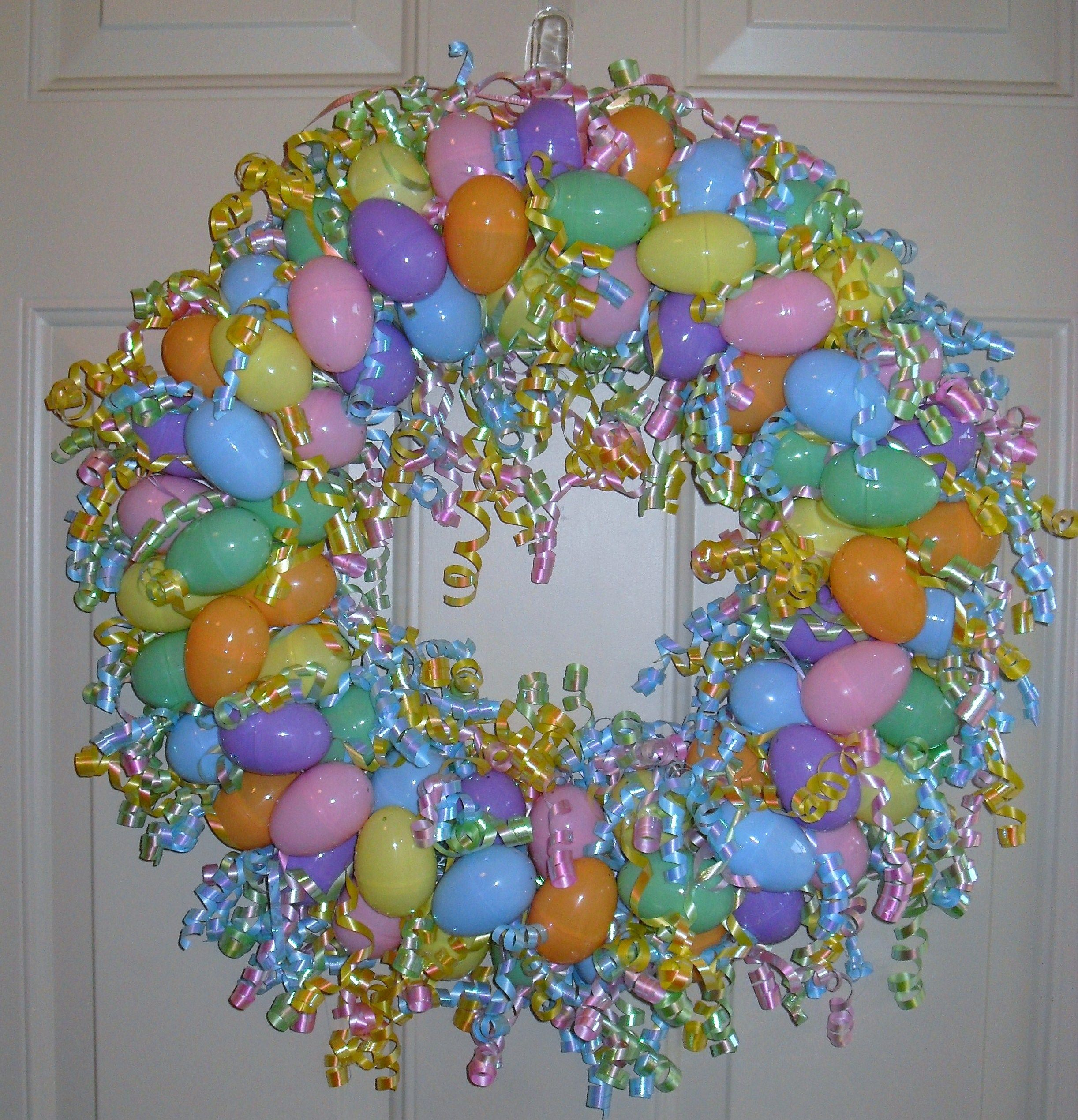Easter Egg Wreath I made this year. | Easter | Pinterest