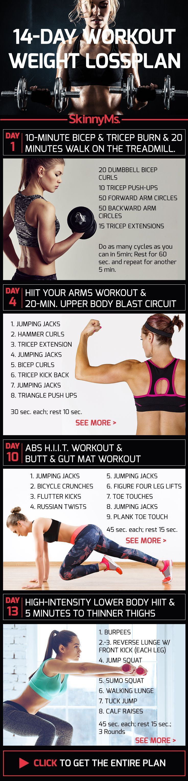 14-Day Exercise Weight Loss Plan #Fitness