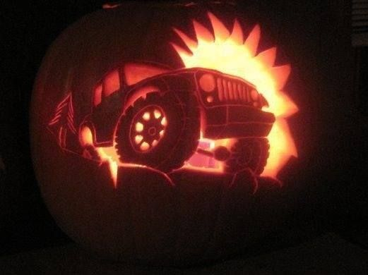 Rock crawling jeep pumpkin carving halloween