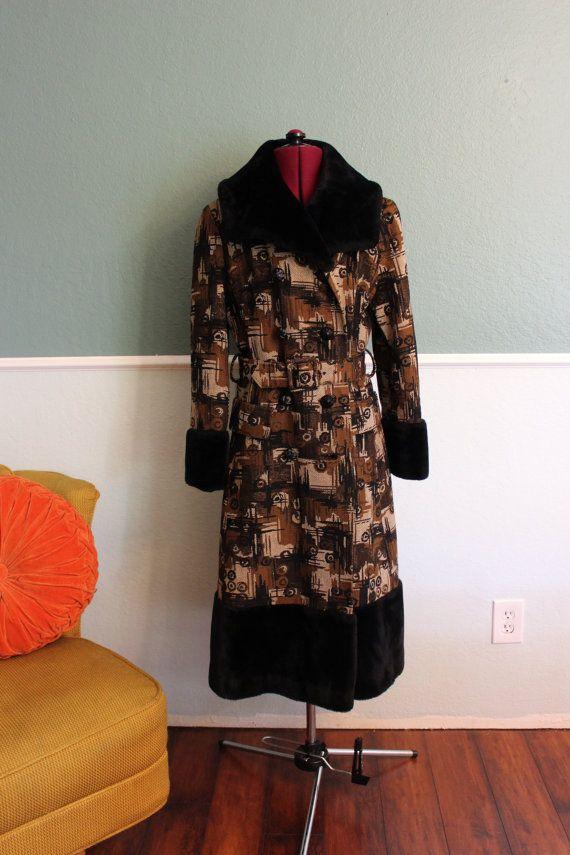 1960s Heavy Tapestry Carpet Coat Mr Julius M L Etsy Coat Black Faux Fur Fashion