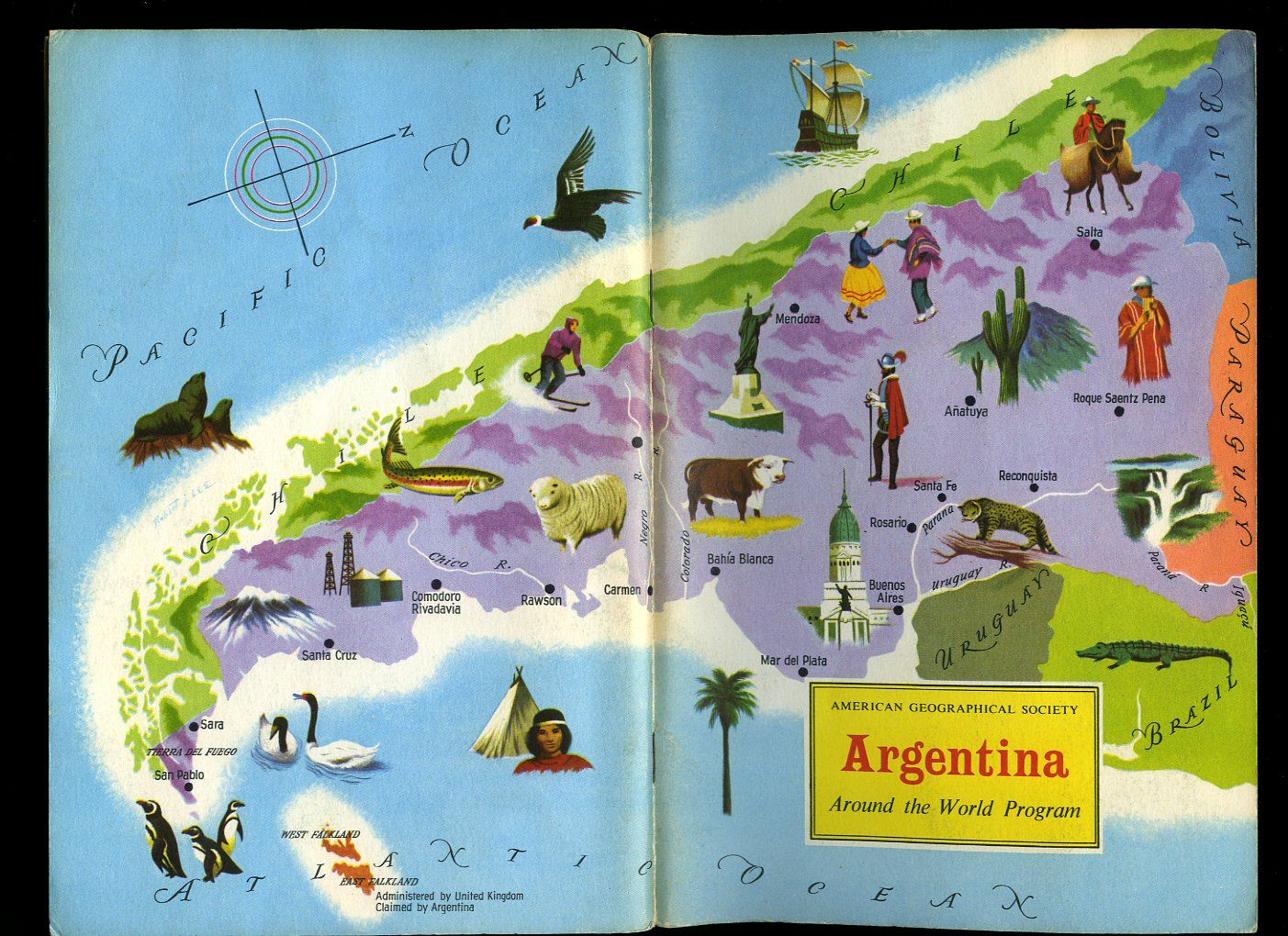Argentina american geographical society around the world program argentina american geographical society around the world program vintage map book cover maps american geographical society around the world program gumiabroncs Image collections