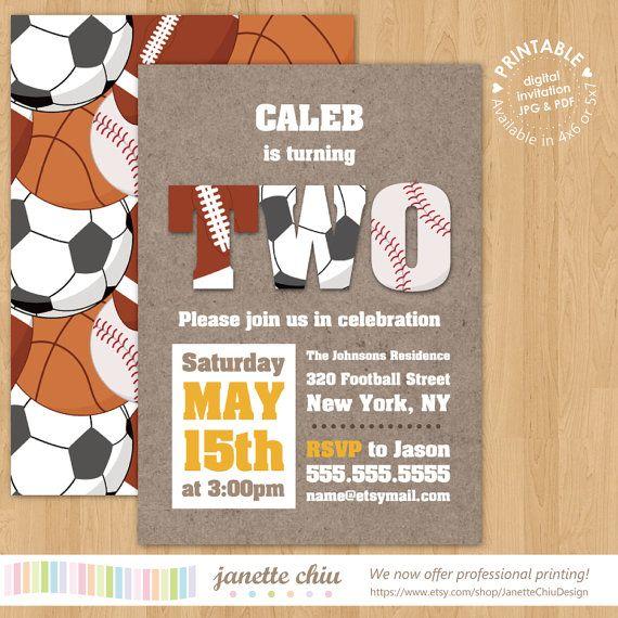 Sports Boy Birthday Party Invitation Digital Printable Or Printed Any Color Age All Star MVP