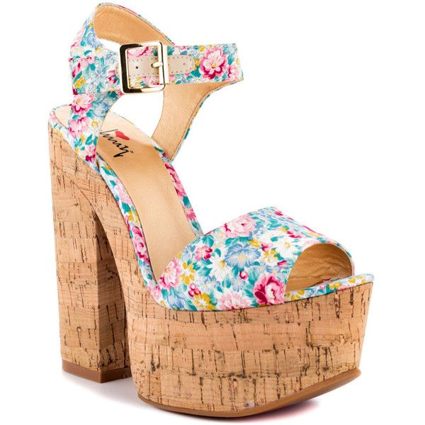 Luichiny Women's Vic Toria - Mint Flower ($62) ❤ liked on Polyvore featuring shoes, sandals, heels, zapatos, block heel, shoes / sandals, women, trendy, platform and open toe