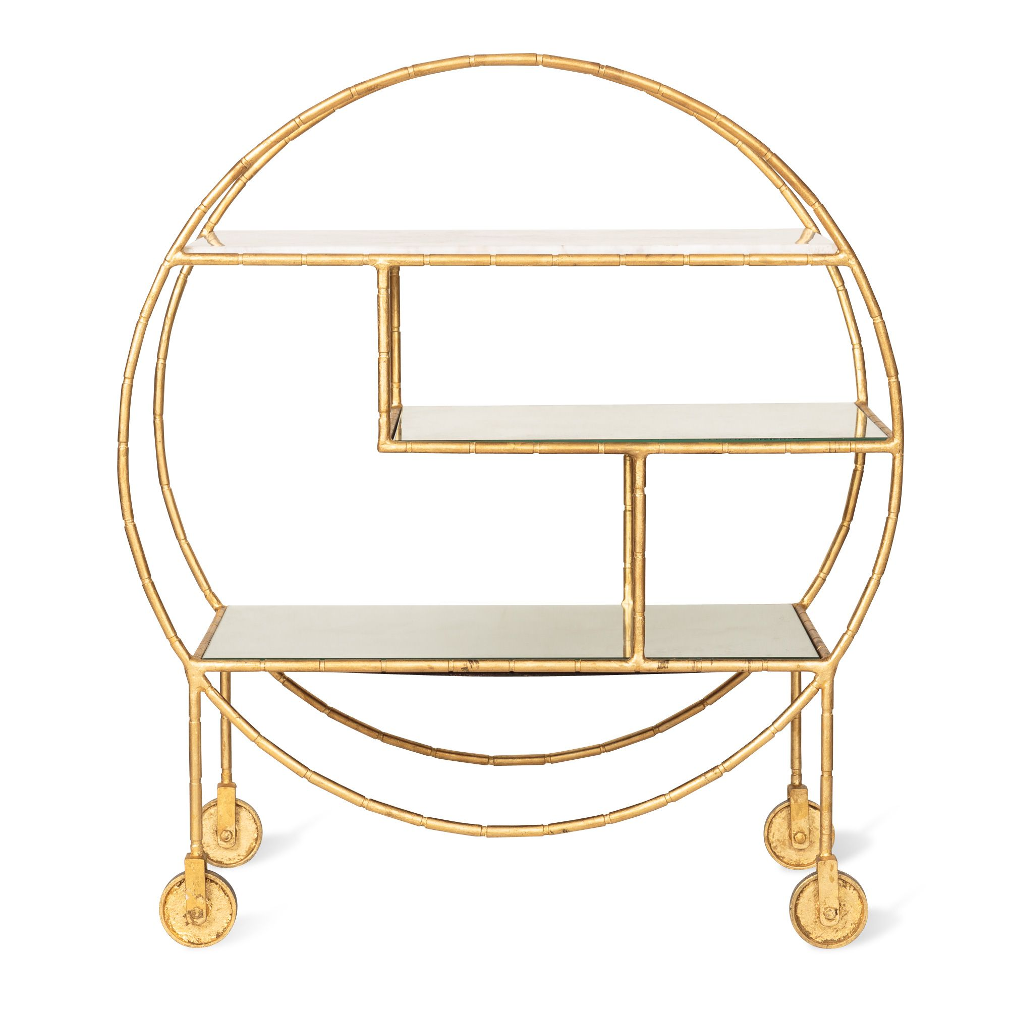 Luxe Round Bamboo Drinks Trolley And