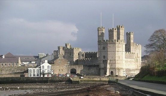 Caernarfon castle from the west, Wales