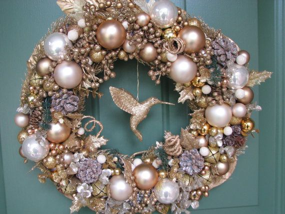 Large Gorgeous Gold Christmas Wreath, Glitter Wreath, Holiday Wreath - christmas decors