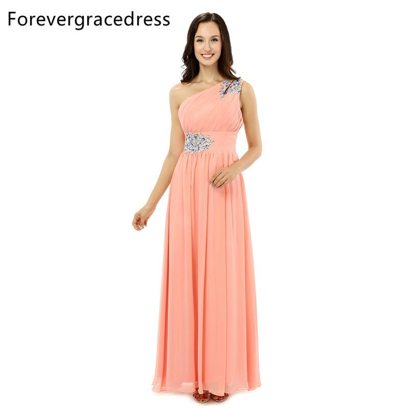 Forevergracedress Real Picture Pink Prom Dress New Pretty One Shoulder  Crystal Lace Up Chiffon Long Formal 0bcba0419d1f