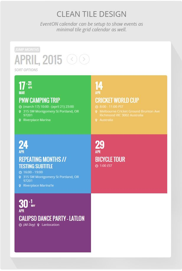 Eventon Wordpress Event Calendar Plugin Ui Elements Pinterest