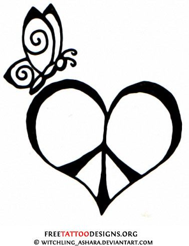 Butterfly and peace tattoo design Tattoo ideas Pinterest