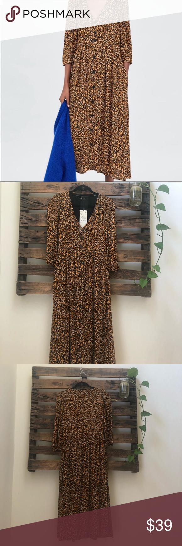 Zara Trf Collection Cheetah Print Dress Long Sleeve Print Dress Cheetah Print Dress Print Dress [ 1740 x 580 Pixel ]