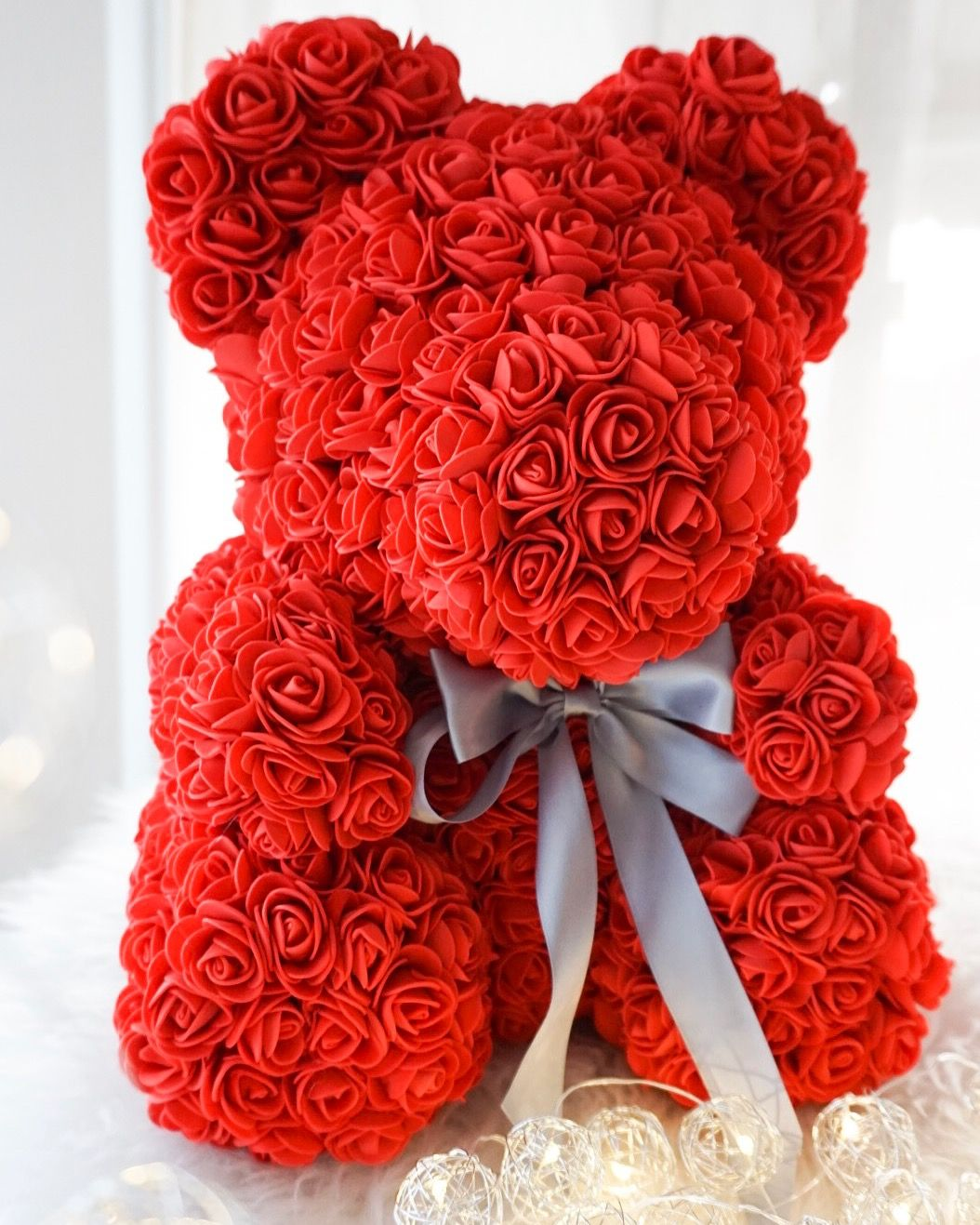 Alurdina Rose Bear, Faux Rose Teddy Bear, Artificial